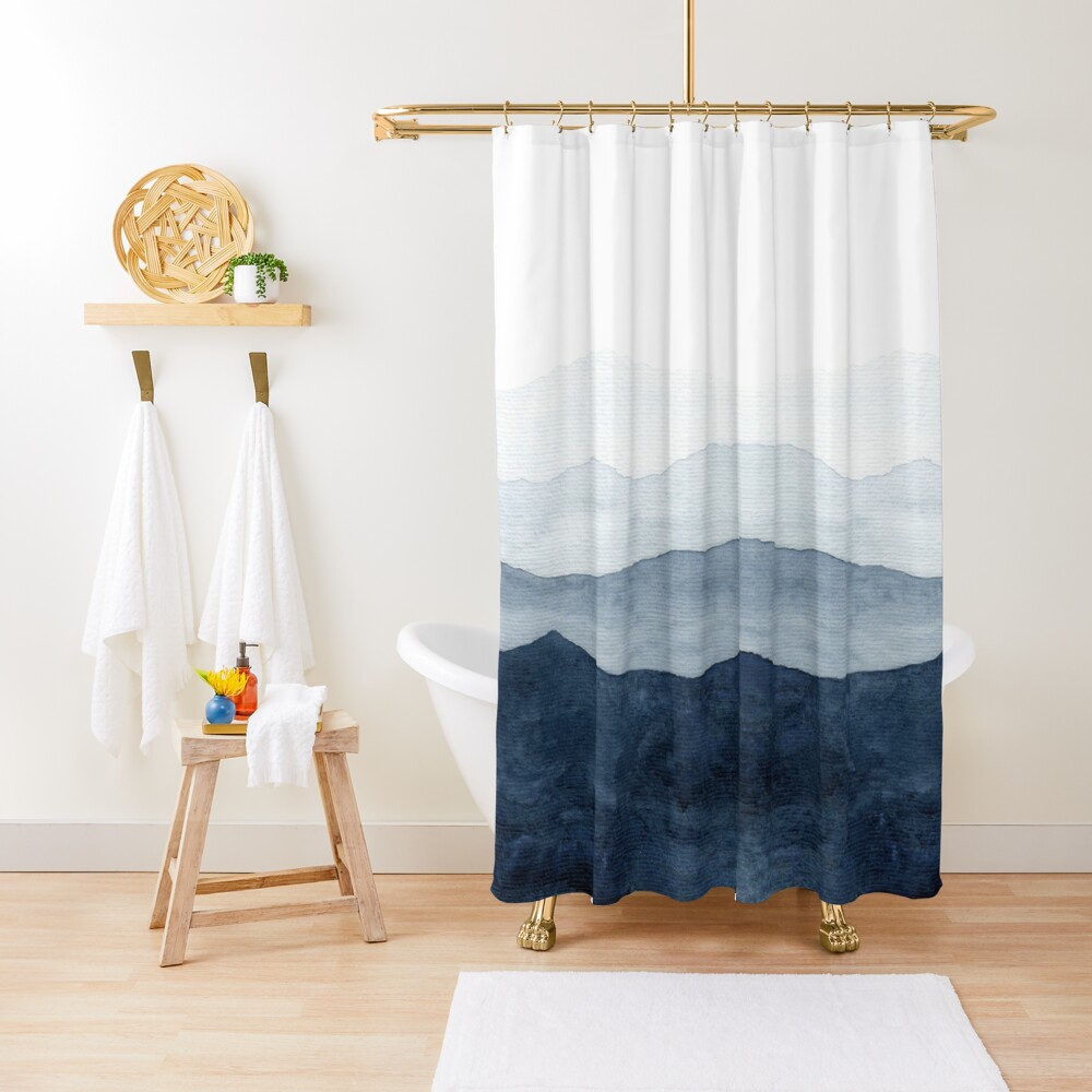 Mountains Ombre | Indigo Abstract Watercolor Shower Curtain