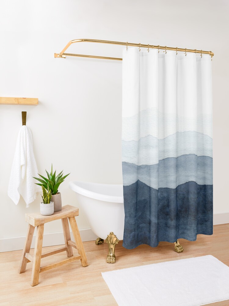 Alternate view of Mountains Ombre | Indigo Abstract Watercolor Shower Curtain