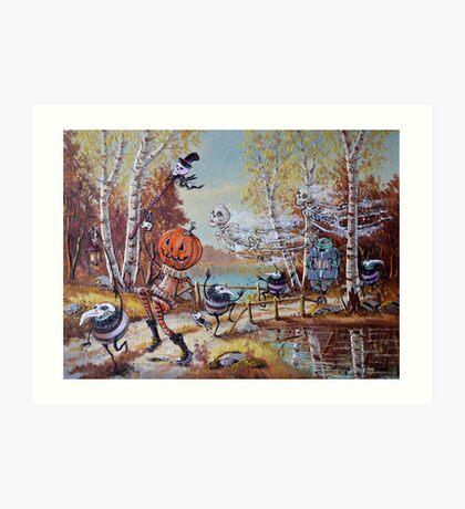 Hallowe'en Comes to Town Art Print