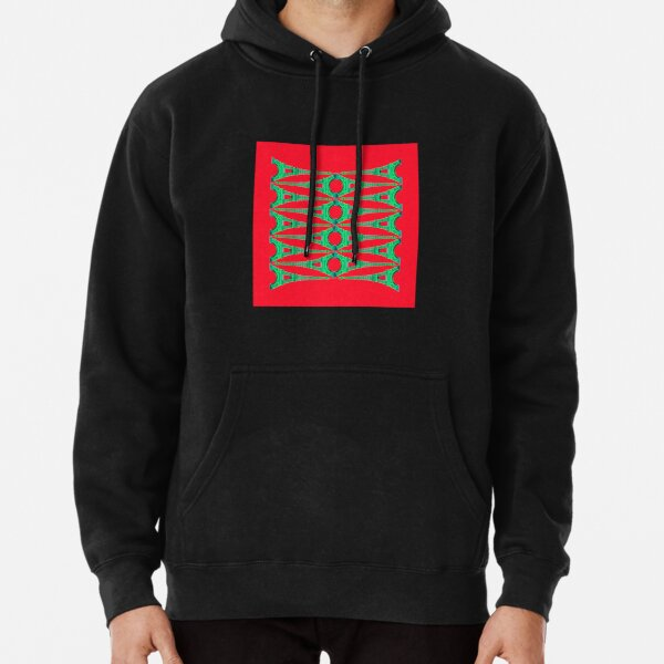 Eiffel Stack - Green on Red Pullover Hoodie