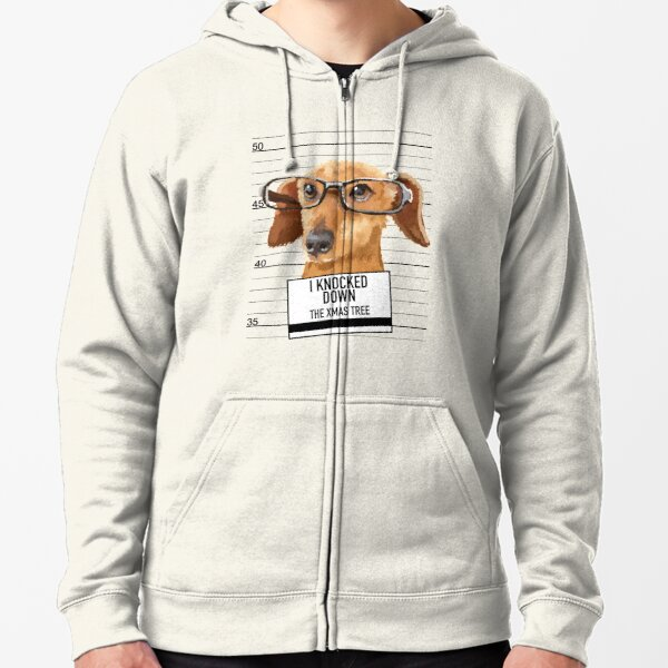 This Christmas is Dogs and Wine Dachshund Zip Hooded Sweatshirt