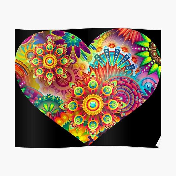 Killer Psychedelic Black Light Flowers Rave Heart Poster