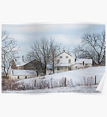 Amish Farmstead in Winter Poster