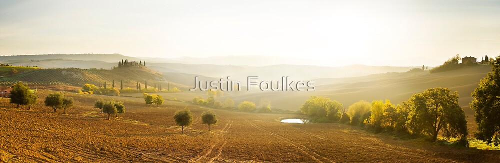 Val D'Orcia panorama, Tuscany by Justin Foulkes
