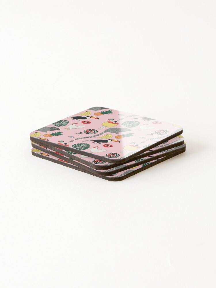 Alternate view of Pink jungle by Elebea Coasters (Set of 4)