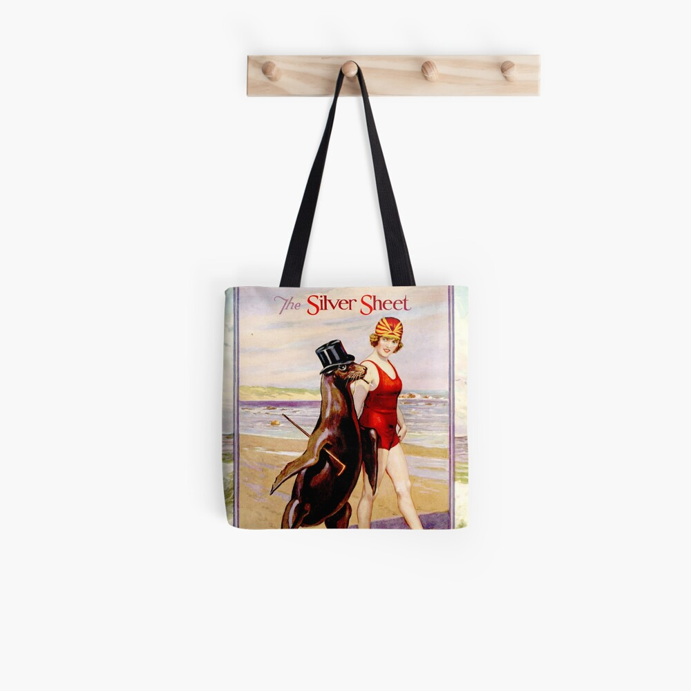 Silver Sheet Galloping Fish Antique Magazine Bathing Beauty With Top Hat Wearing Sea Lion  Tote Bag