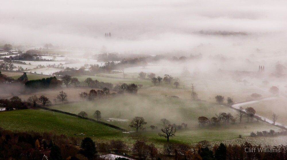 Mist gathering in the Severn valley near Malvern by Cliff Williams