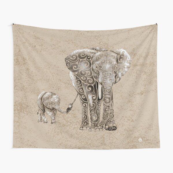 Swirly Elephant Family Tapestry