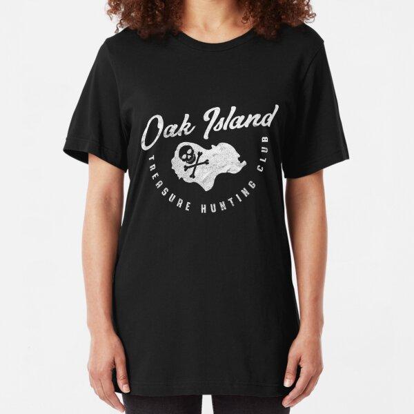 Oak Island Treasure Hunting Club Map Skull and Crossbones Vintage Slim Fit T-Shirt