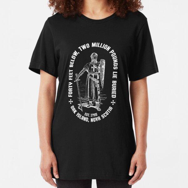 Oak Island Forty Feet Vintage Templar Knight 1795 Mystery Treasure Slim Fit T-Shirt