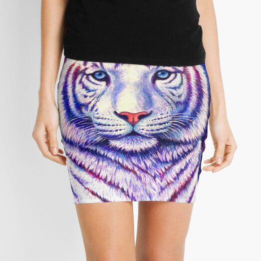 Among the Stars - Cosmic White Tiger Mini Skirt