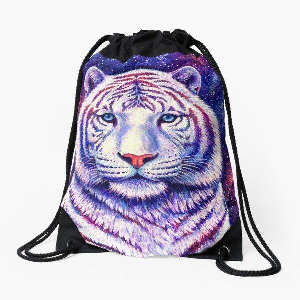 Among the Stars - Cosmic White Tiger Drawstring Bag