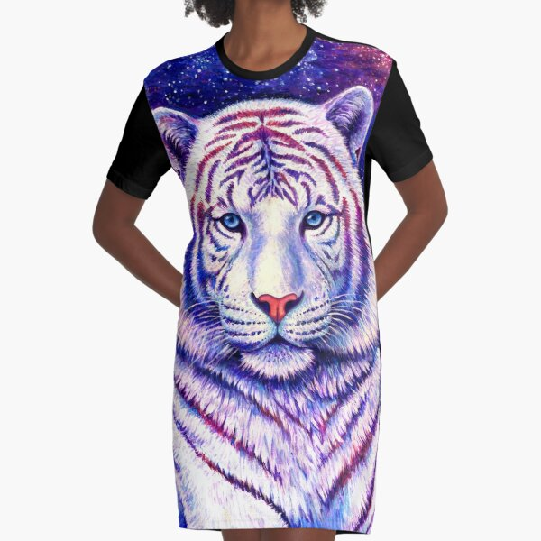 Among the Stars - Cosmic White Tiger Graphic T-Shirt Dress