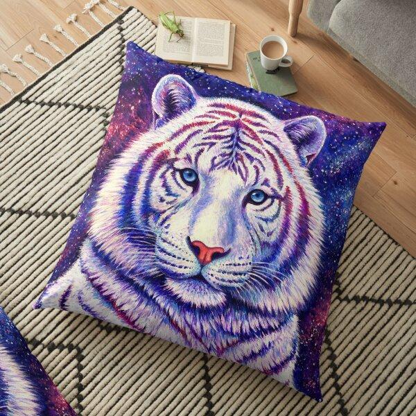Among the Stars - Cosmic White Tiger Floor Pillow