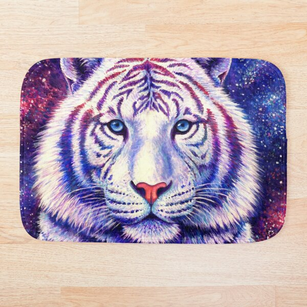 Among the Stars - Cosmic White Tiger Bath Mat