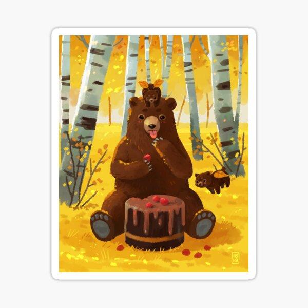 Chocolate cake and bears Sticker