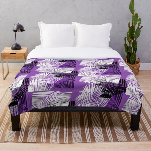 Passionate Purple Palms Throw Blanket