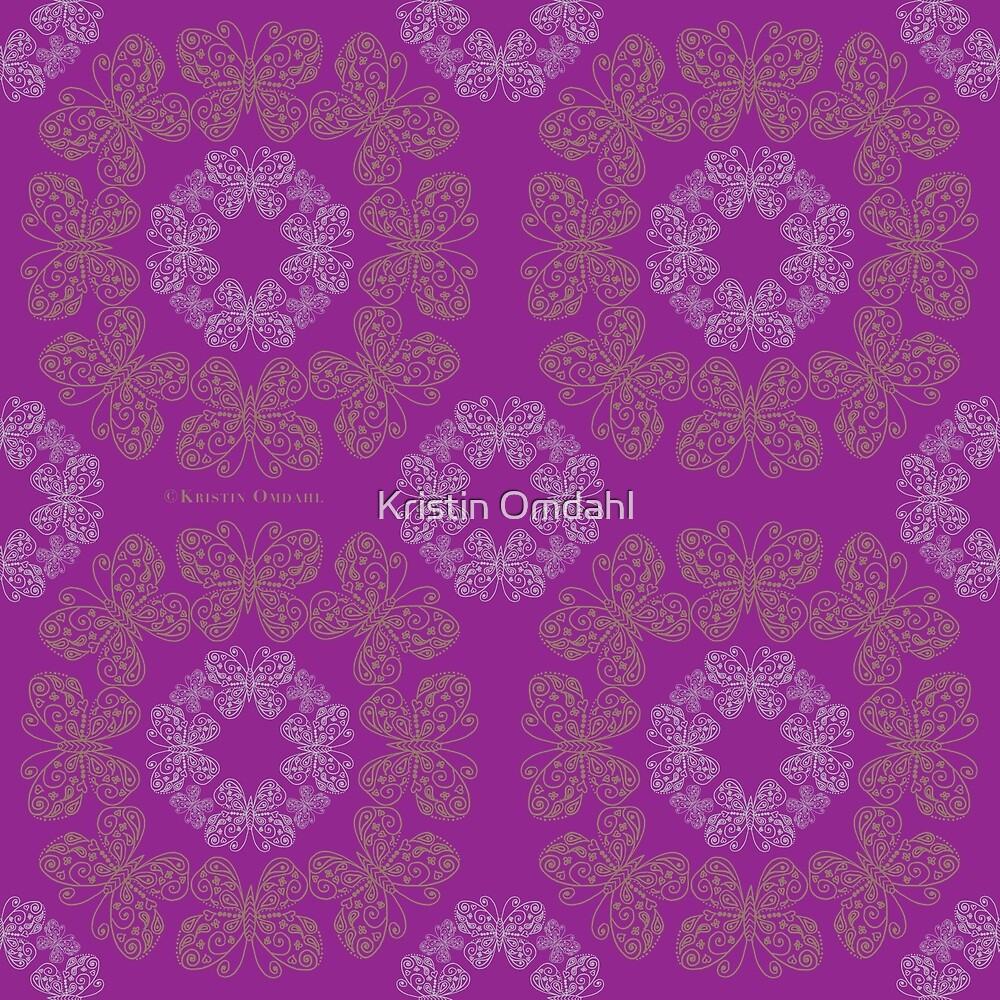 Gilded Butterflies Violet Magenta by Kristin Omdahl