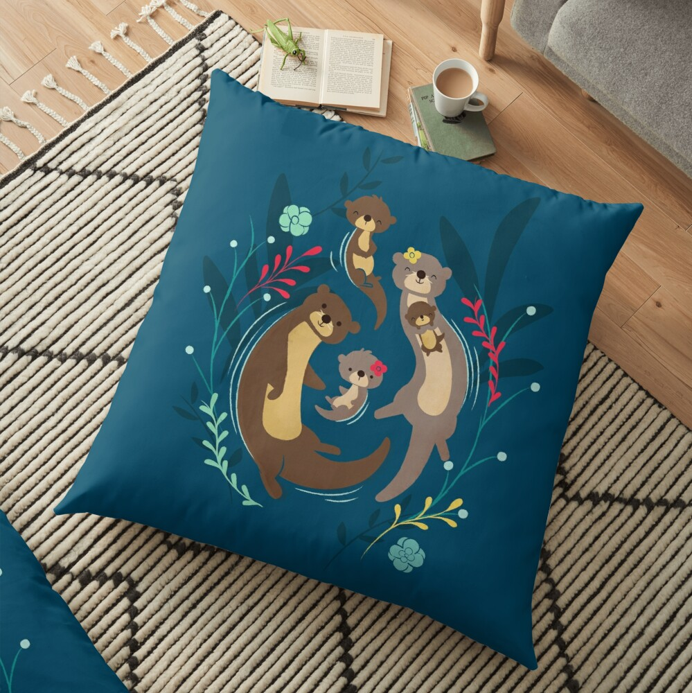 Otter Family Floor Pillow