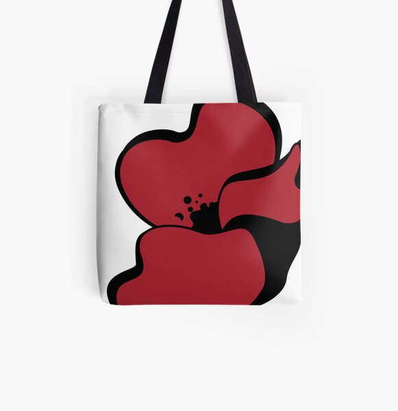Red Poppies All Over Print Tote Bag