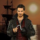 "Captain Hook Comic Poster ""Sunset"" Logoless Design by Marianne Paluso"
