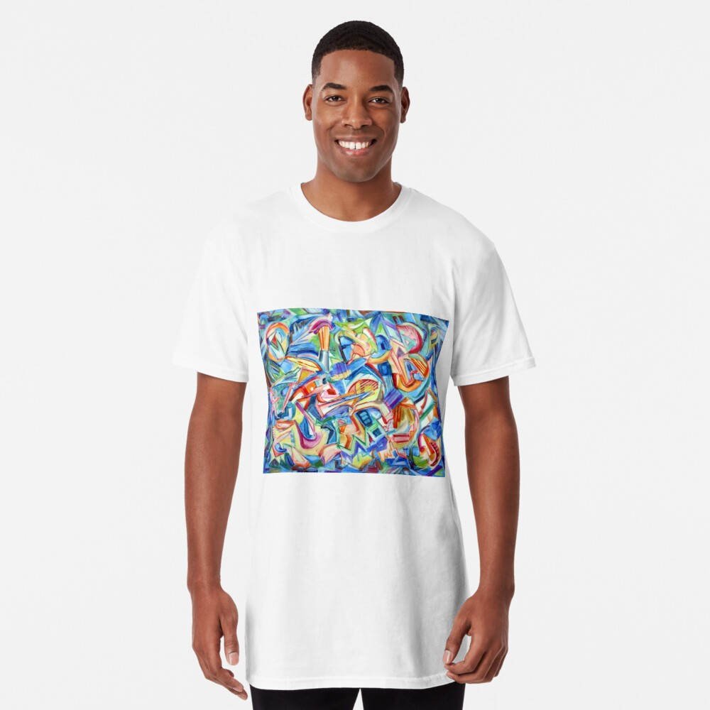 All that Jazz. Abstract action painting in the spirit of jazz improv by Pamela Parsons Long T-Shirt