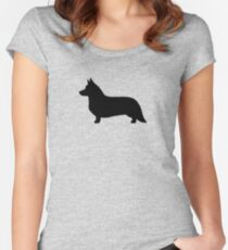 Cardigan Welsh Corgi Silhouette Women's Fitted Scoop T-Shirt