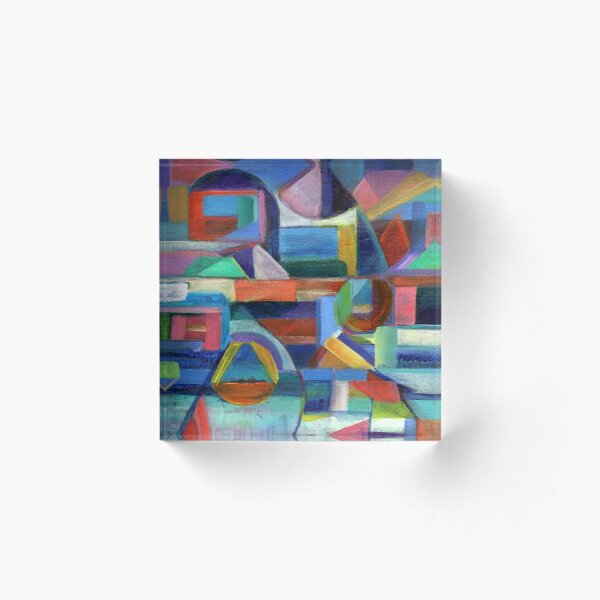 Balance. A geometric, abstract expressionist acrylic painting by Pamela Parsons Acrylic Block