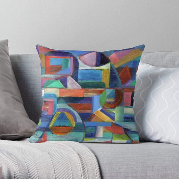 Balance. A geometric, abstract expressionist acrylic painting by Pamela Parsons Throw Pillow