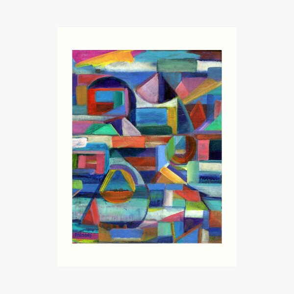 Balance. A geometric, abstract expressionist acrylic painting by Pamela Parsons Art Print