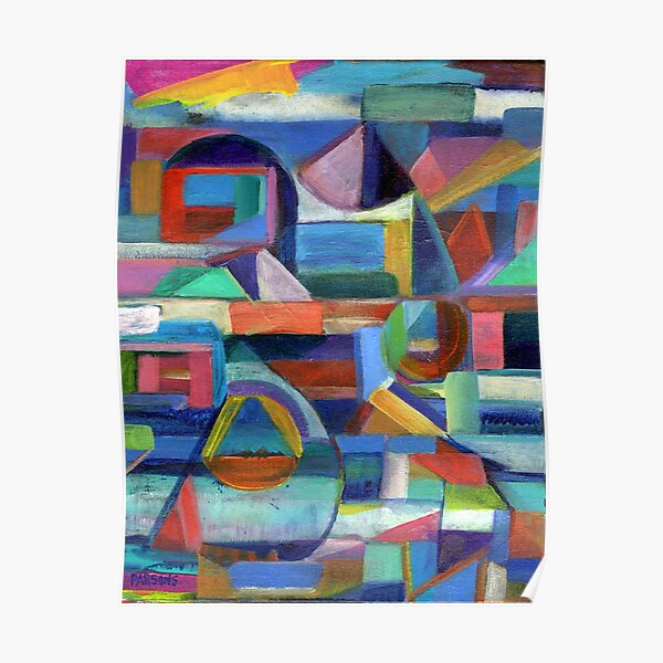 Balance. A geometric, abstract expressionist acrylic painting by Pamela Parsons Poster