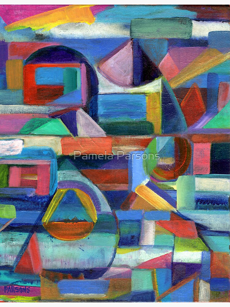 Balance. A geometric, abstract expressionist acrylic painting by Pamela Parsons by parsonsp
