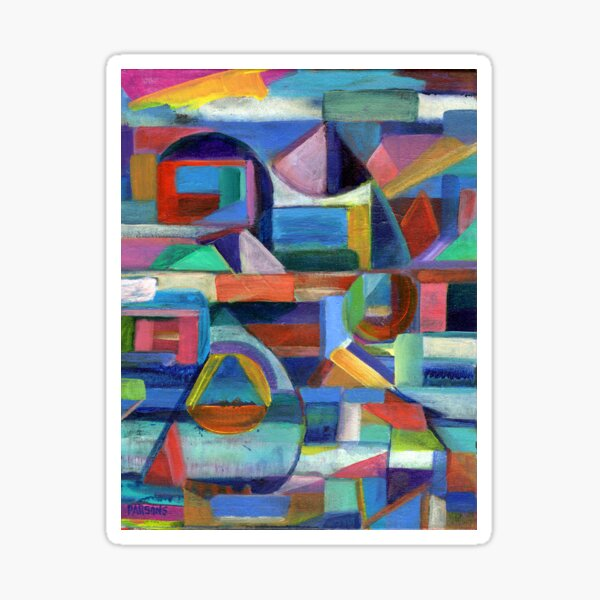 Balance. A geometric, abstract expressionist acrylic painting by Pamela Parsons Sticker
