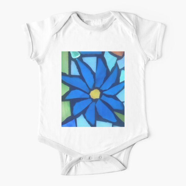 Blue Blossom Short Sleeve Baby One-Piece