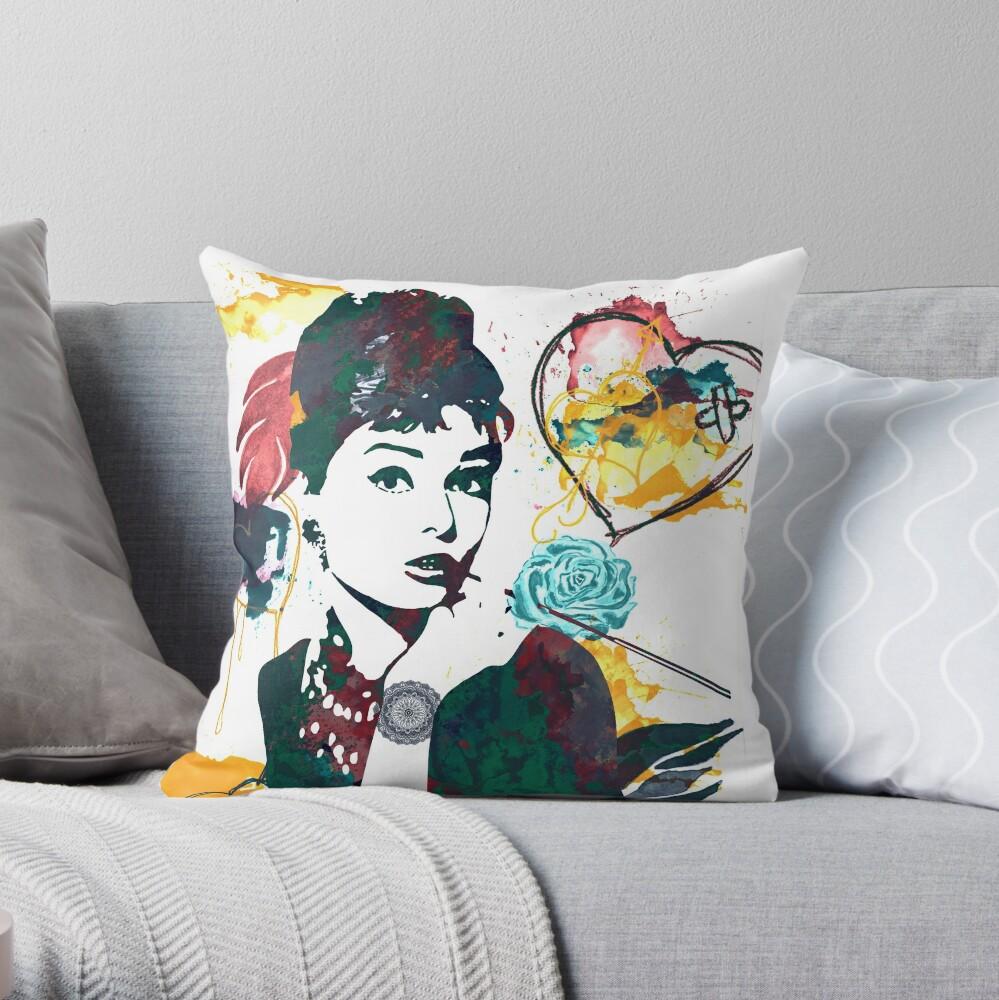 Audrey Hepburn nature colours Throw Pillow