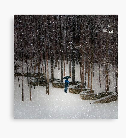 Woods Filling with Snow Canvas Print