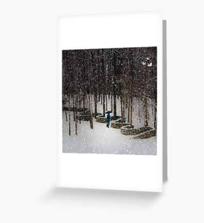 Woods Filling with Snow Greeting Card
