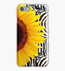 Bright Yellow Sunflower on Zebra Print Stripes iPhone Case/Skin