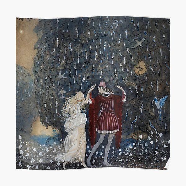 Lena dances with the knight by John Bauer 1915 Poster