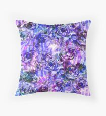 Pink, Purple, and Blue Watercolor Roses Throw Pillow