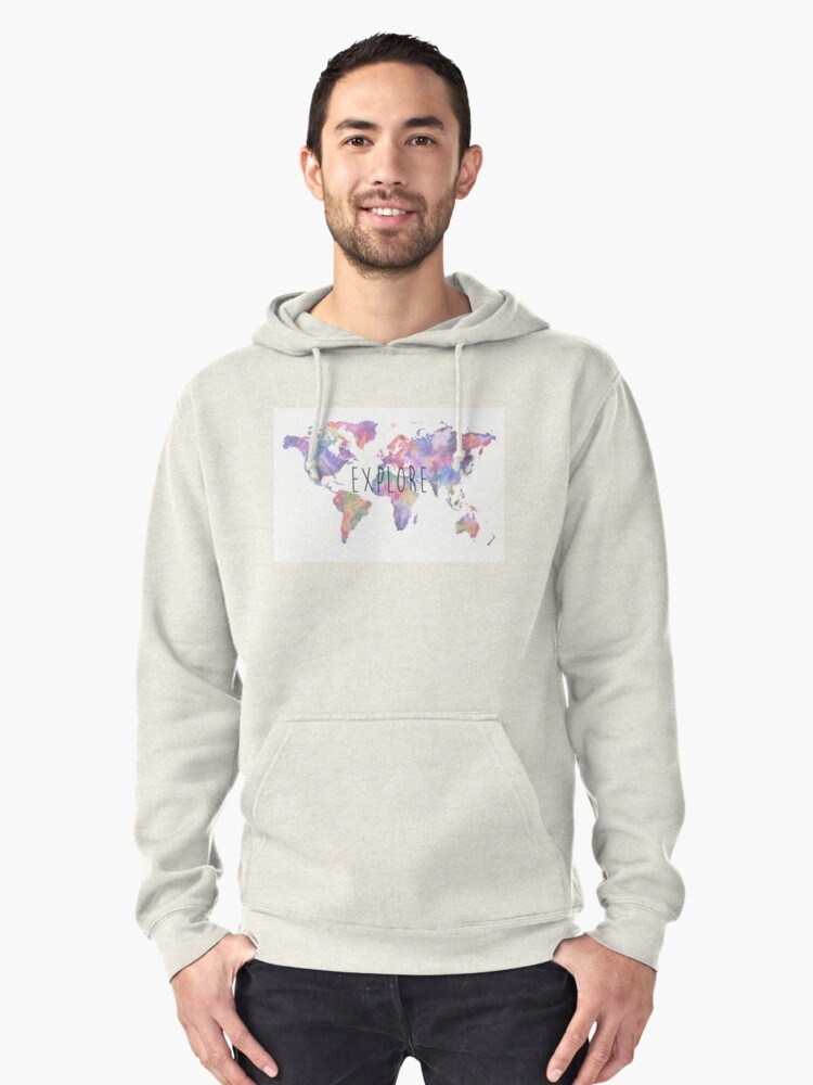 World map watercolour explore pullover hoodie by rosewelldesigns world map watercolour explore pullover hoodie by rosewelldesigns redbubble gumiabroncs Choice Image