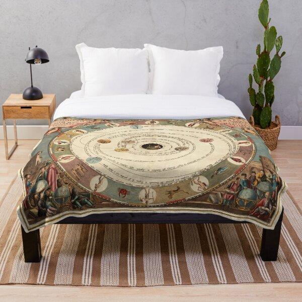 Vintage Zodiac Circle with Horoscope Throw Blanket