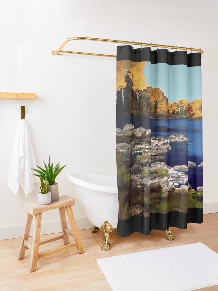 Alternate view of Mona's Landing Shower Curtain