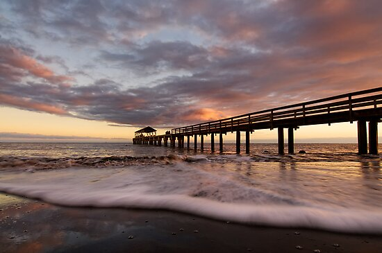sunset at waimea pier by Flux Photography