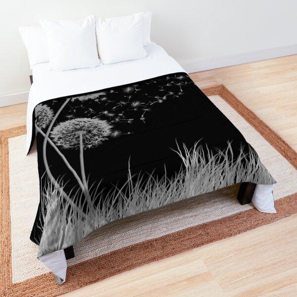 Dandelion Wishes on Black Comforter