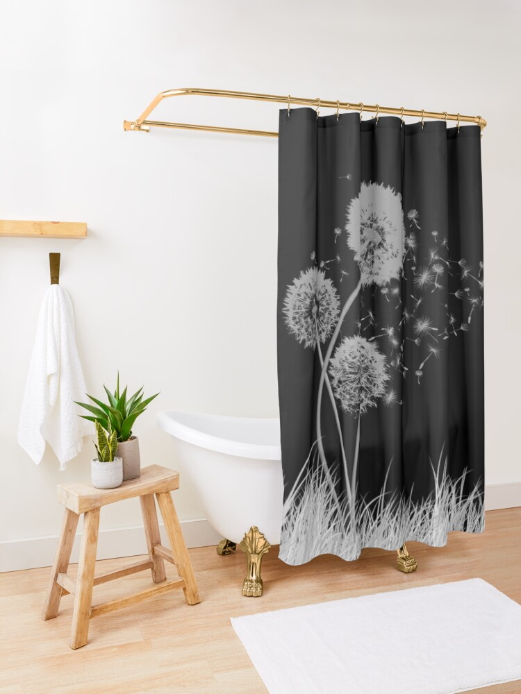 Alternate view of Dandelion Wishes on Black Shower Curtain