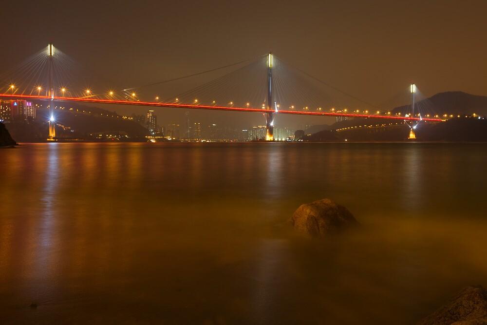 Ting Kau Bridge at Night. by Nick Atkin