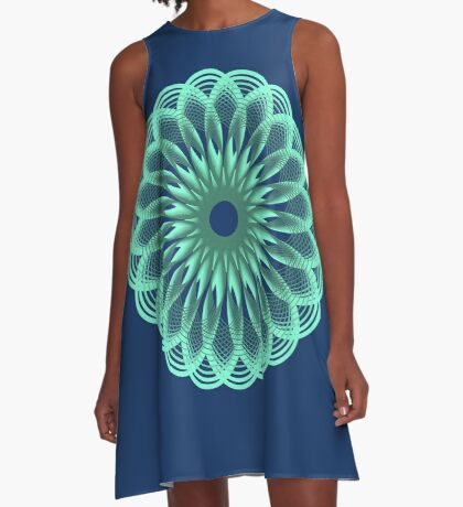 Spirograph in seagreen A-Line Dress