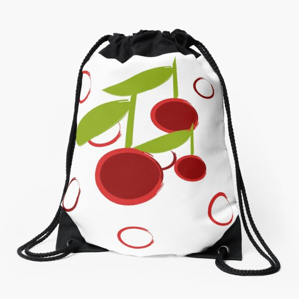 Cherry O by Muse in Mind Design Drawstring Bag