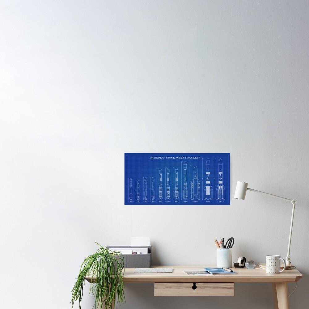 European Space Agency Rockets Blueprint Poster